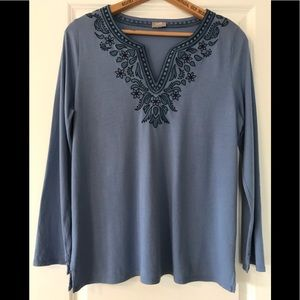 J. Jill embroidered peasant tunic length top